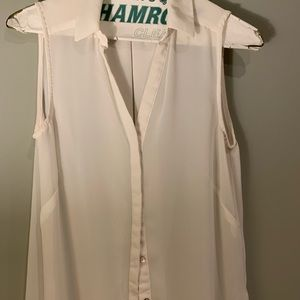 H&M Cream Sheer Collared Button Up Top, Like New